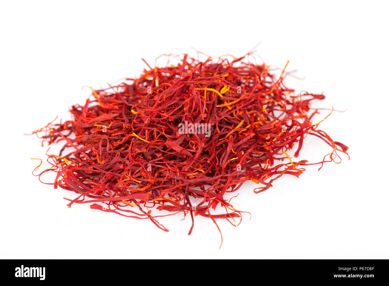 A lot of saffron isolated on white background. - Stock Image
