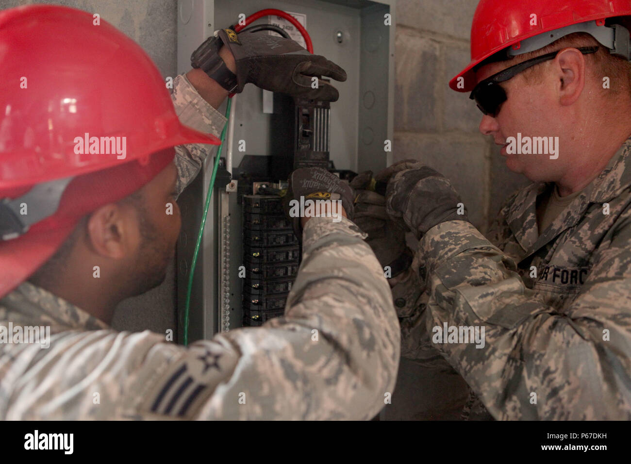 Us Air Force Airmen Perform Maintenance On A Fuse Box At Cover Construction Site La Blanca Guatemala May 10 2016 Task Red Wolf And Army South Conducts