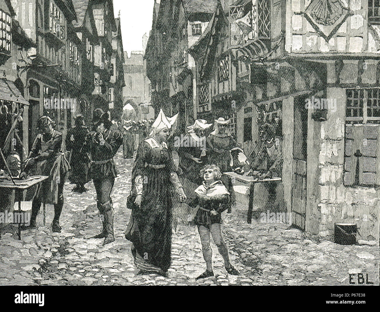 Street in London, England in the 15th Century - Stock Image