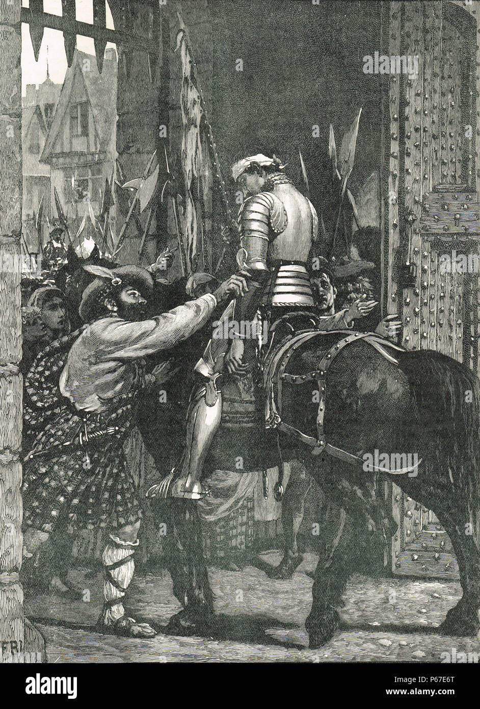 Randolph Murray, survivor of battle of Flodden 1513, returning to Edinburgh, bringing news of the defeat - Stock Image