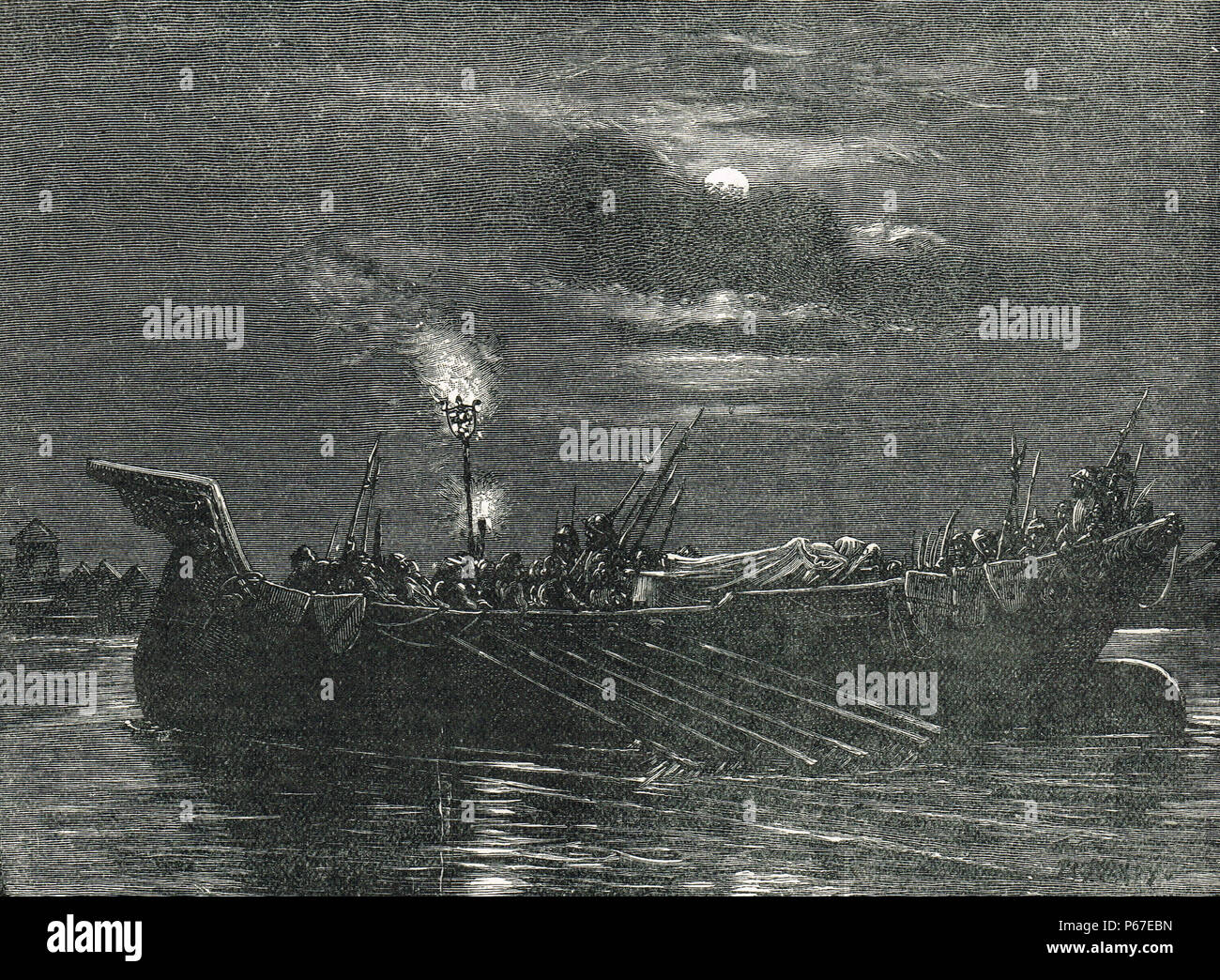 King Henry VI of England, taken for burial, barge taking body to  Chertsey Abbey, 21 May 1471 - Stock Image