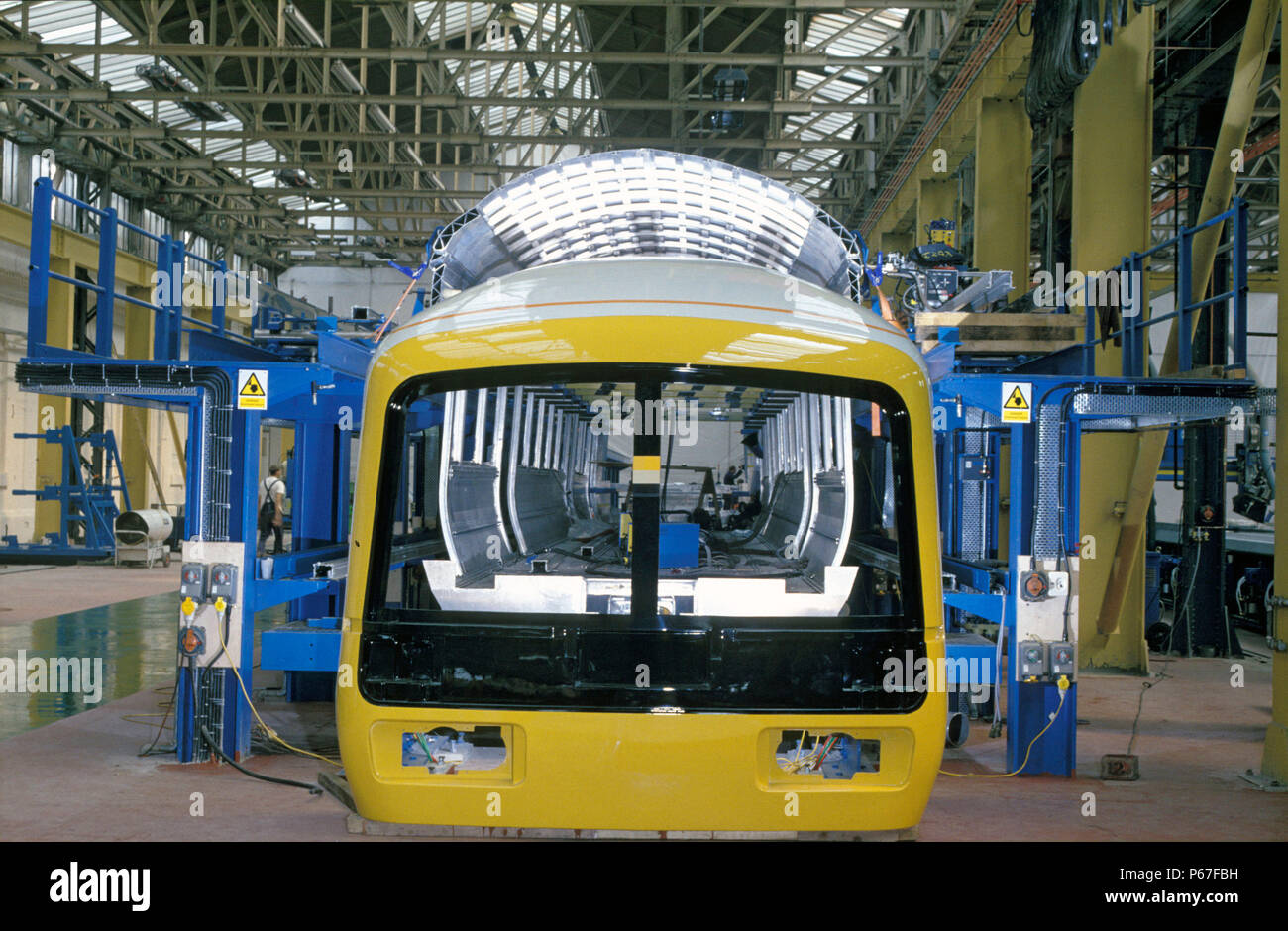 Construction of Class 165 DMUs on production line at BREL in York. C1993 - Stock Image