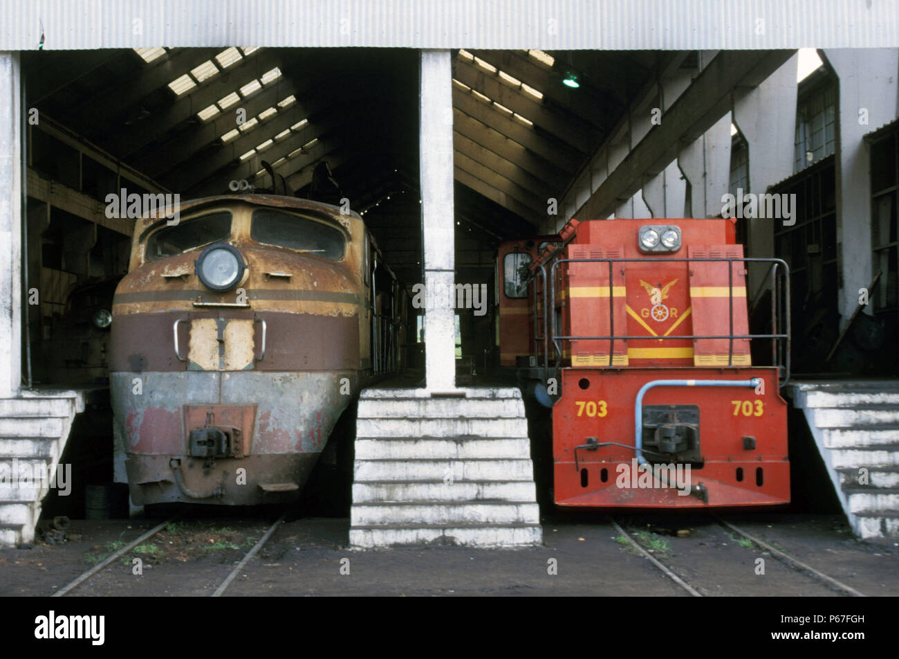 Diesel Electric locomotives at Location Works Ghana in June 1985. - Stock Image