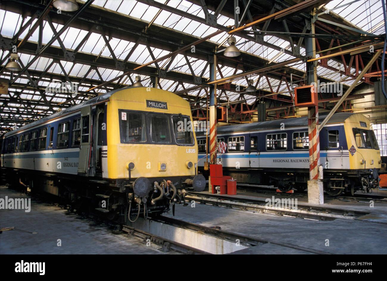 DMUs stabled at Longsight depot. C 1991 - Stock Image
