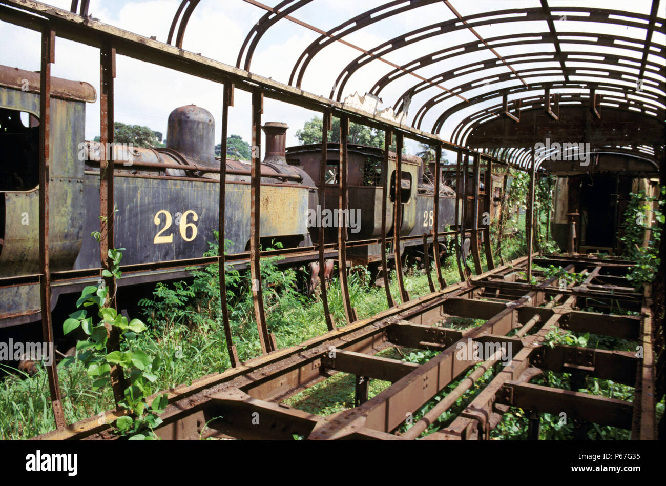 Ghana Railway's 0-8-0Ts built in Britain by Hunslet of Leeds lie abandoned alongside the skeletal form of coaching stock at Location Works in 1985. - Stock Image