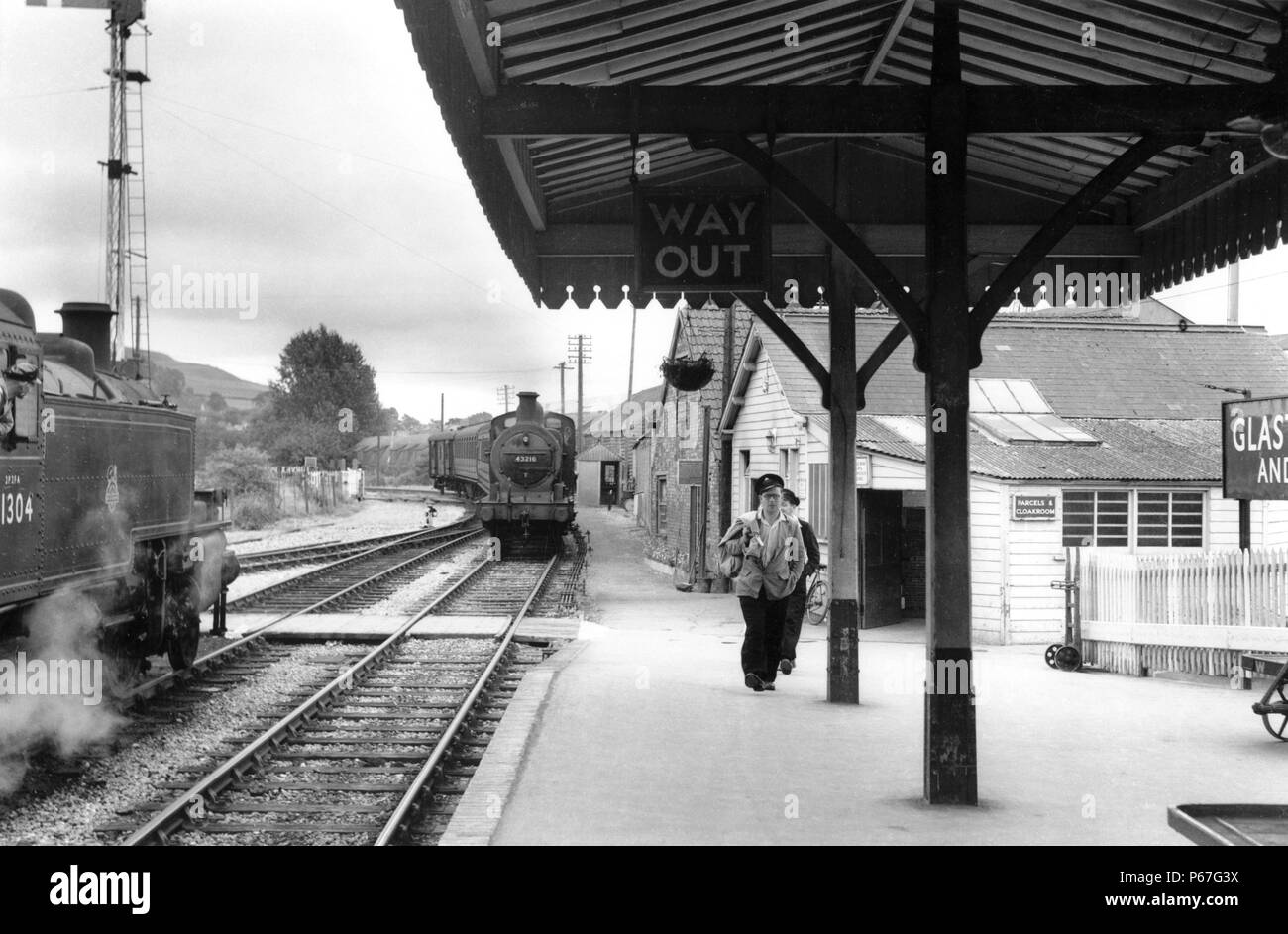 Glastonbury and Street station on the branch from Wells to Bridgewater on the SDJR. The station is 5 1/2 miles from Wells and 14 miles from Bridgwater - Stock Image