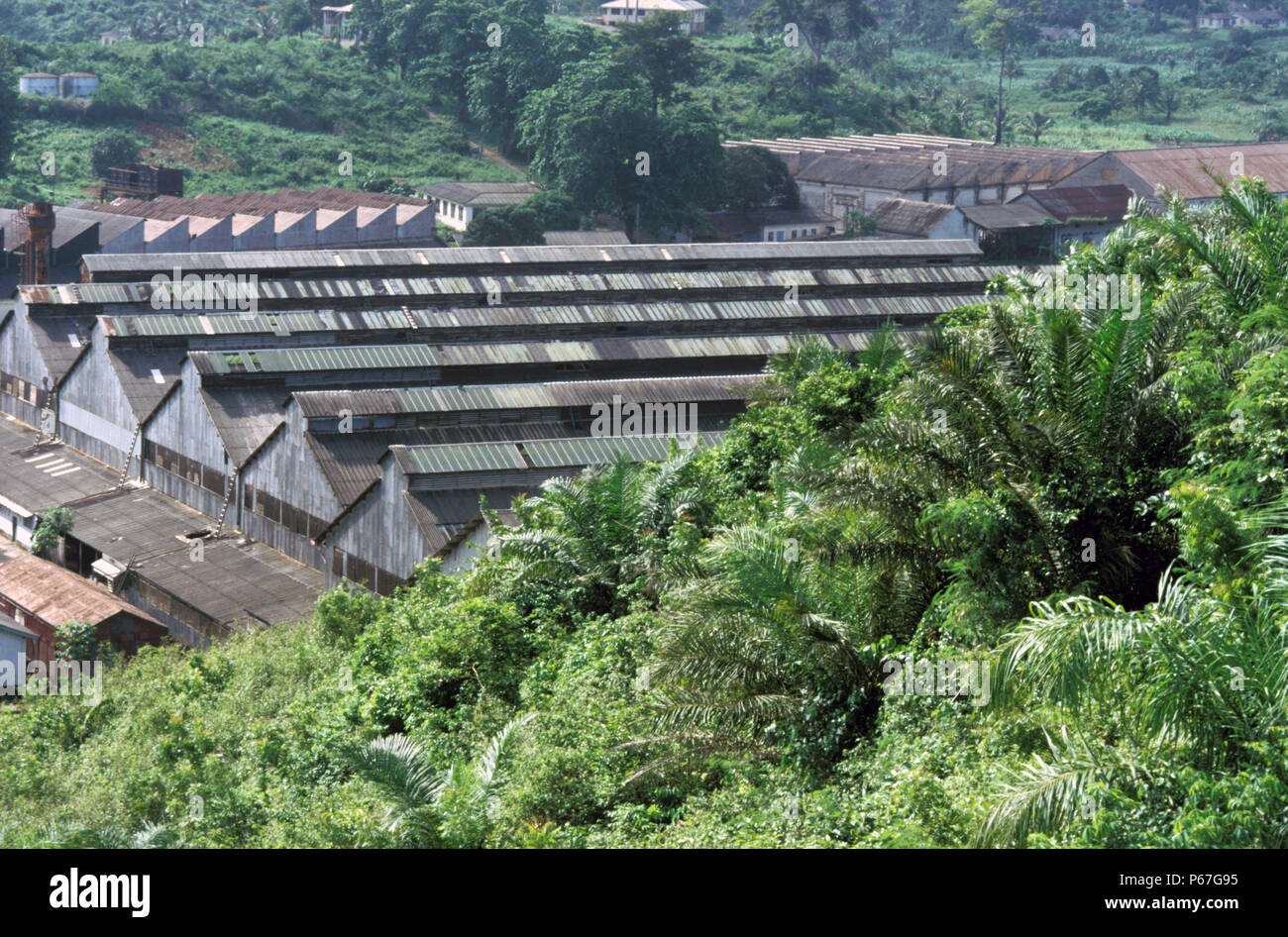 Industrial Lancashire grafted onto primeval forest. Location locomotive Works Ghana where in colonial times the standard of workmanship and quality ec - Stock Image