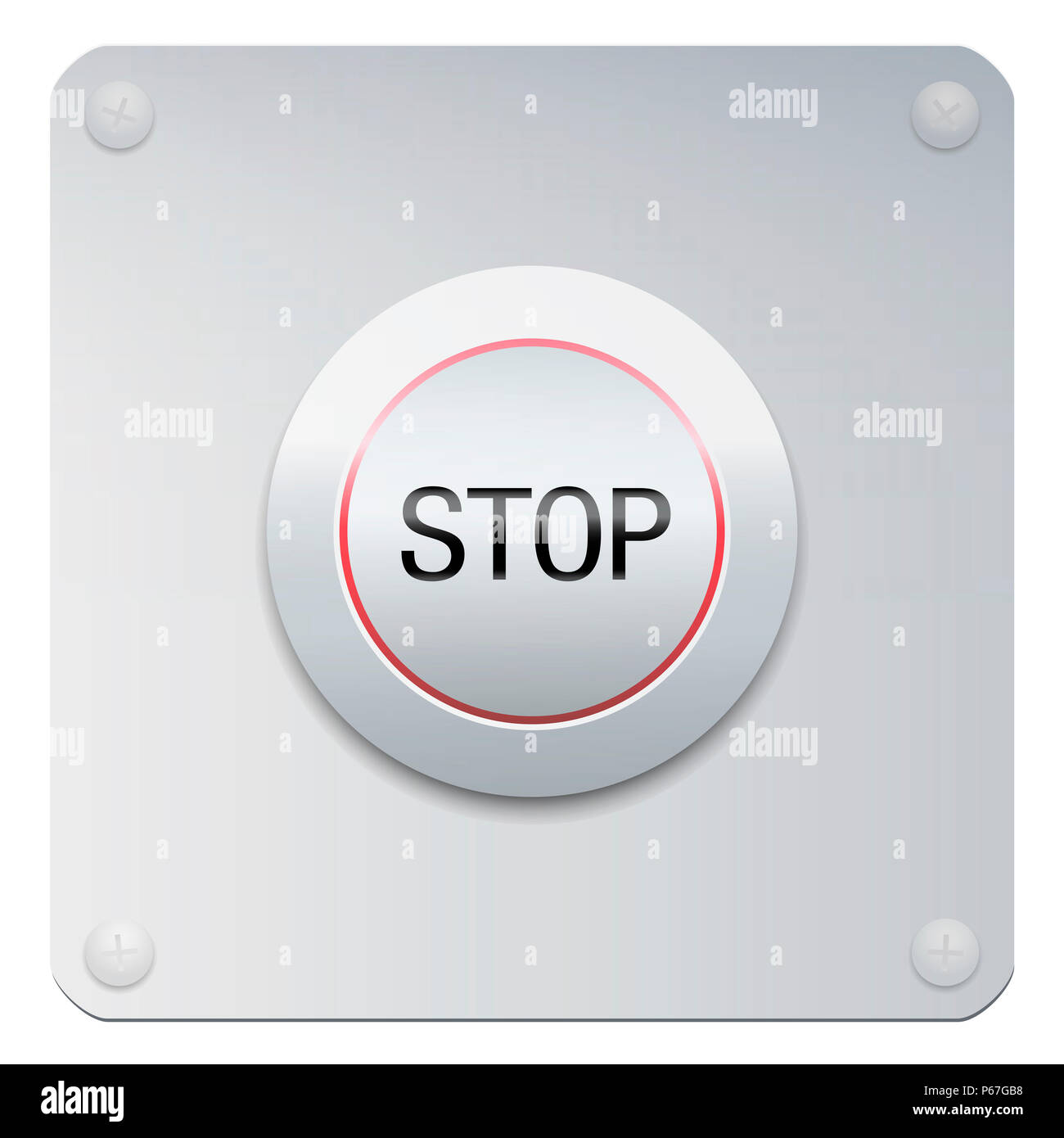 Stop button on a chrome panel to stop machines or instruments, but also injustices, oppressions, insults, addictions, missteps, increase, expansion. - Stock Image