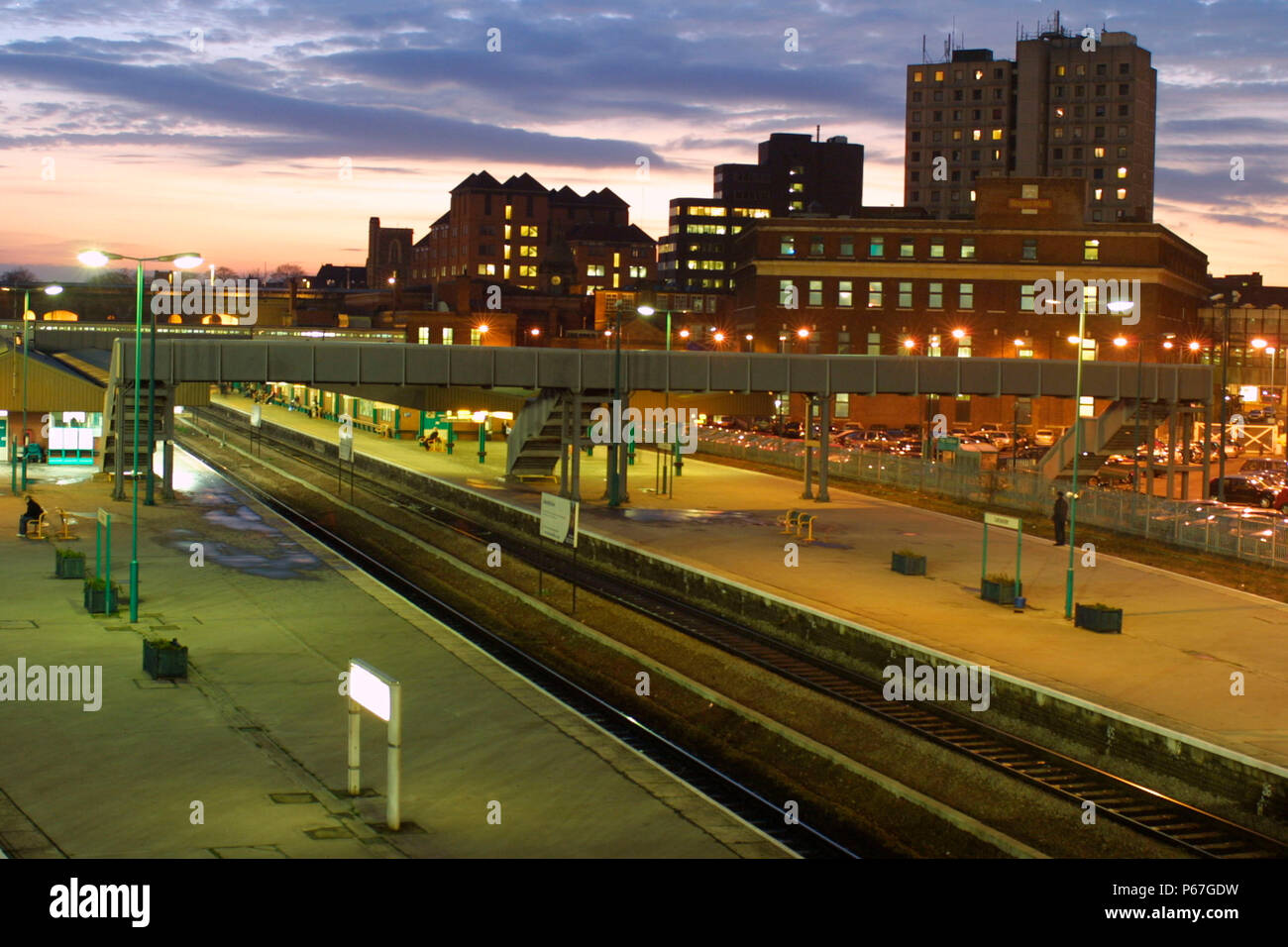 Leicester Station at twighlight. 2003. - Stock Image