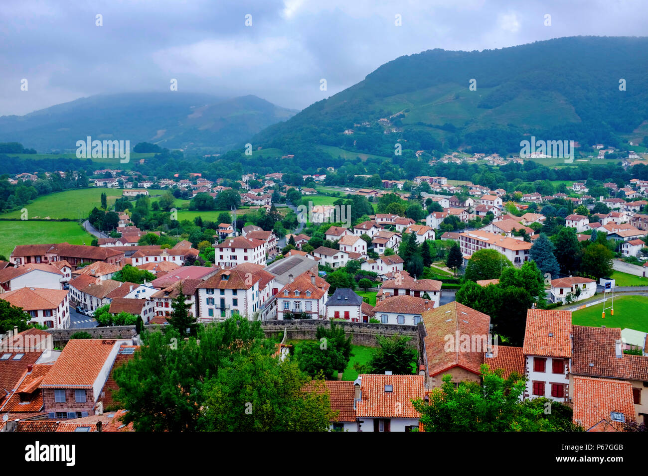 View of Saint Jean Pied de Port as seen from the Citadelle, France - Stock Image