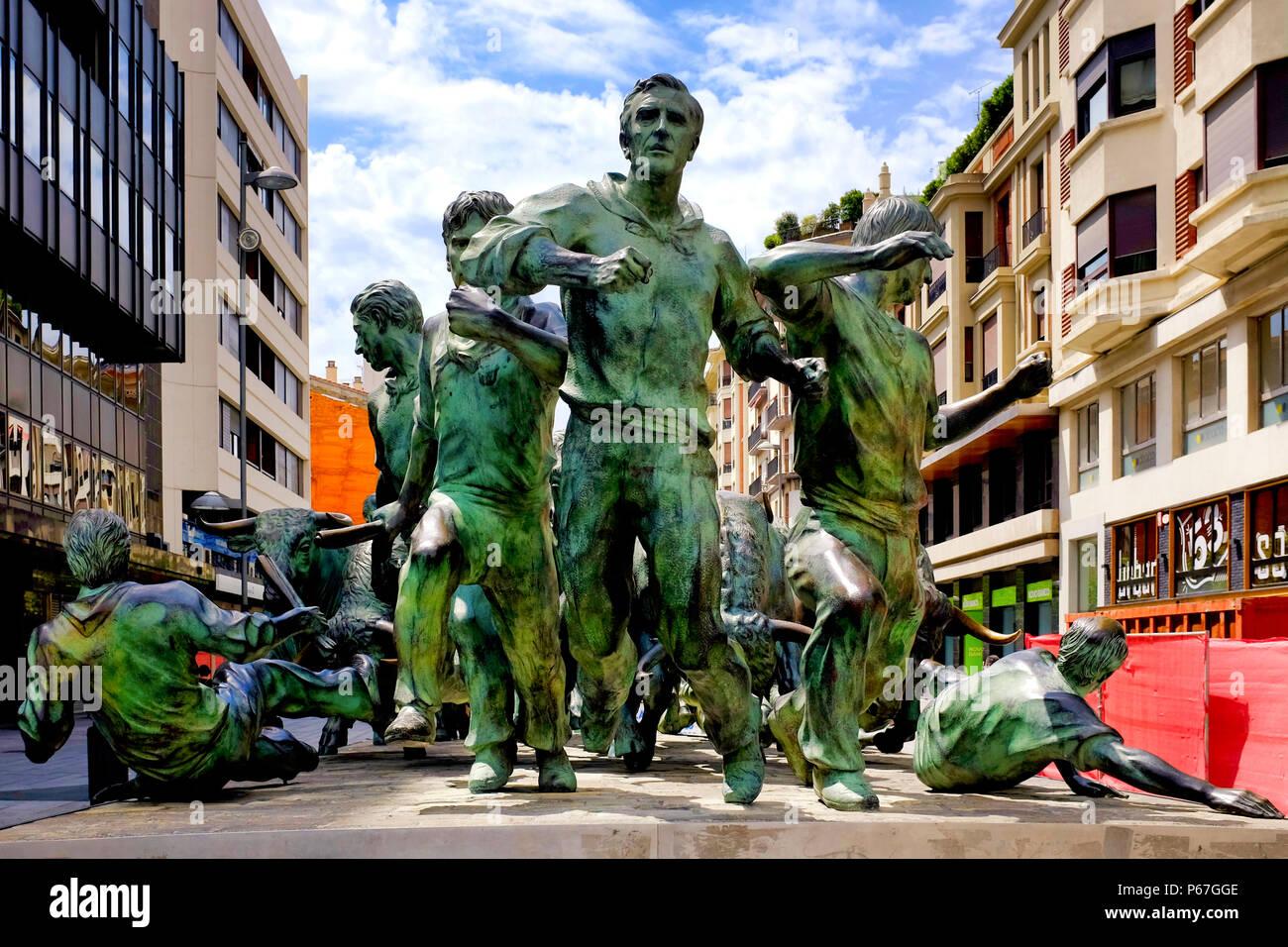 Monumento al Encierro, Pamplona, Navarra, Spain Stock Photo