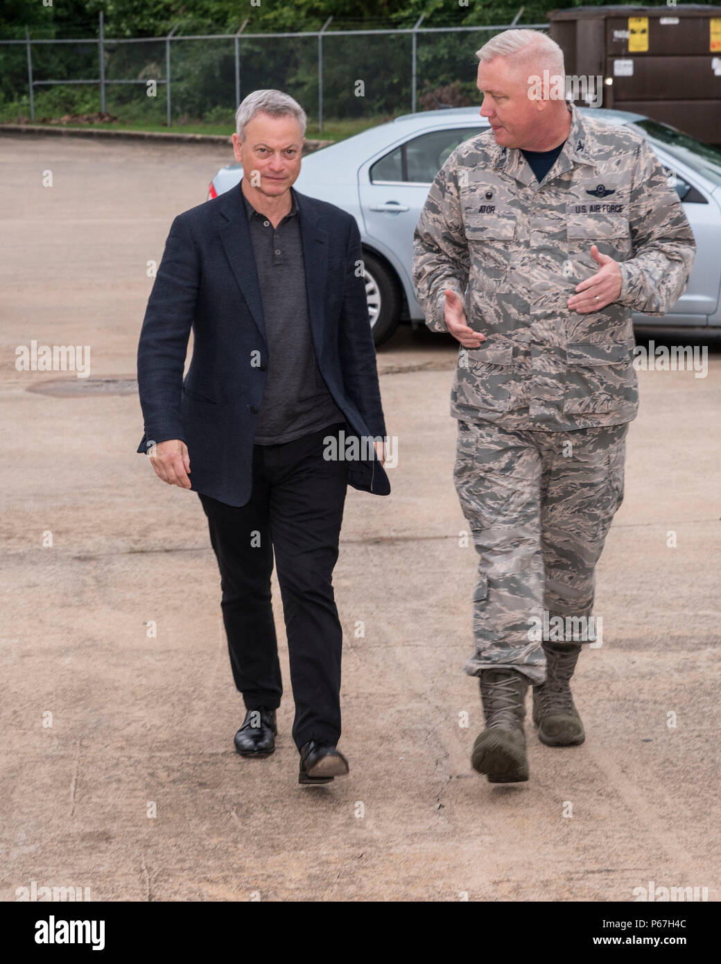 Famed actor Gary Sinise is greeted by Col  Robert Ator II