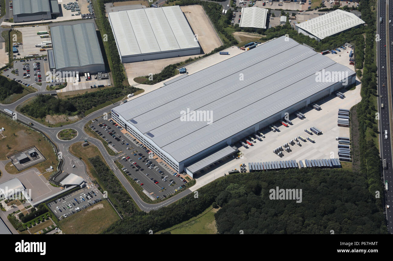 aerial view of Poundworld Retail Ltd distribution centre at Normanton, West Yorkshire - Stock Image