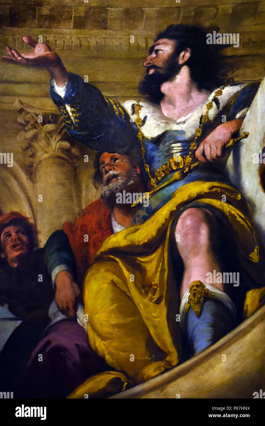 The parable of the wedding guest  by Bernardo Strozzi ,1581 - 1644, Italy ,Italian - Stock Image