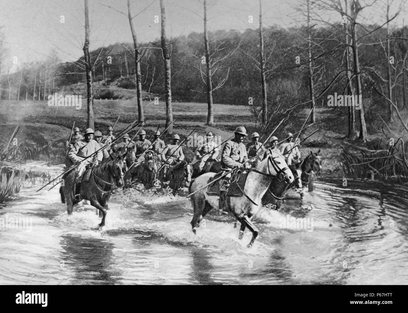French cavalry cross the River Meuse;   France;   World war one 1915 - Stock Image
