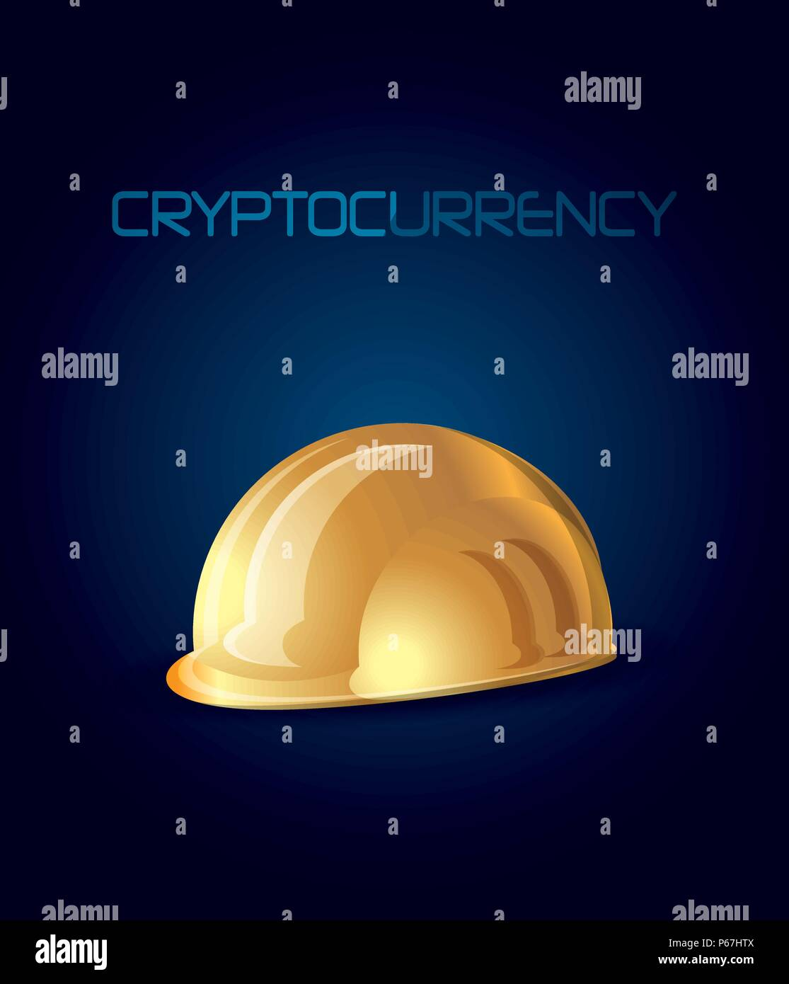 cryptocurrency design with golden helmet over blue background, colorful design. vector illustration - Stock Vector