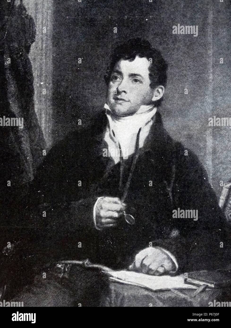 Thomas Moore (28 May 1779 – 25 February 1852) was an Irish poet;   singer;   songwriter;   and entertainer;   now best remembered for the lyrics of 'The Minstrel Boy' and 'The Last Rose of Summer' - Stock Image