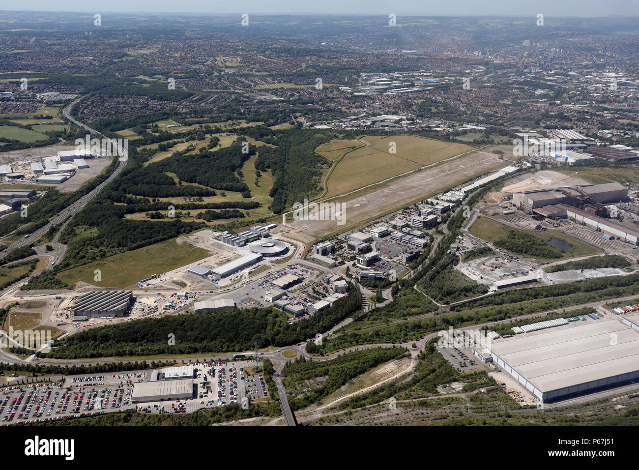 aerial view of the old Sheffield Airport, now closed, UK - Stock Image
