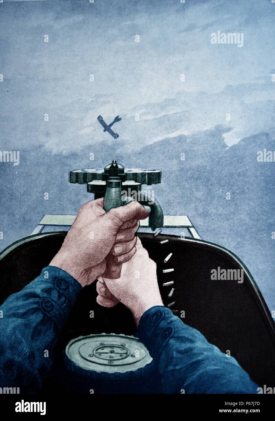 Air to air dogfight between a British and a German aircraft in world war one 1917 Stock Photo