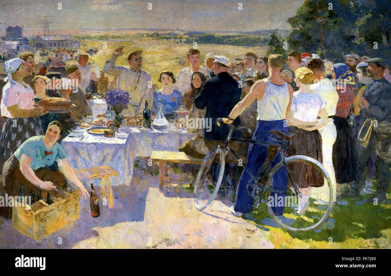 Sergei Gerasimov (Russian artist) of the Soviet realism art style;   'A Collective-Farm Festival' 1937 - Stock Image