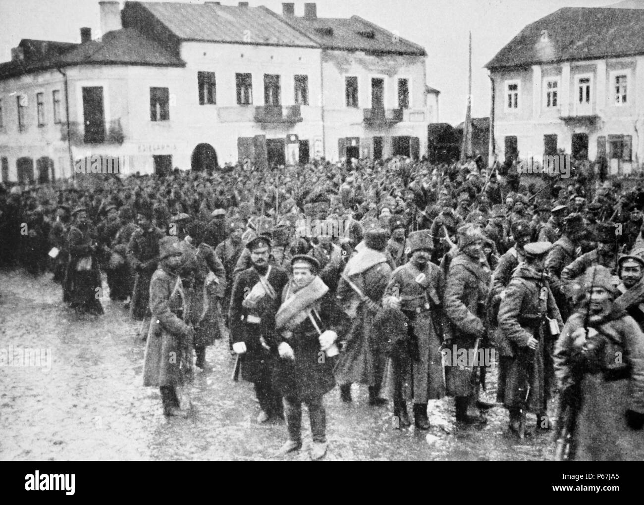 Russian troops in Warsaw during world war one 1915 - Stock Image