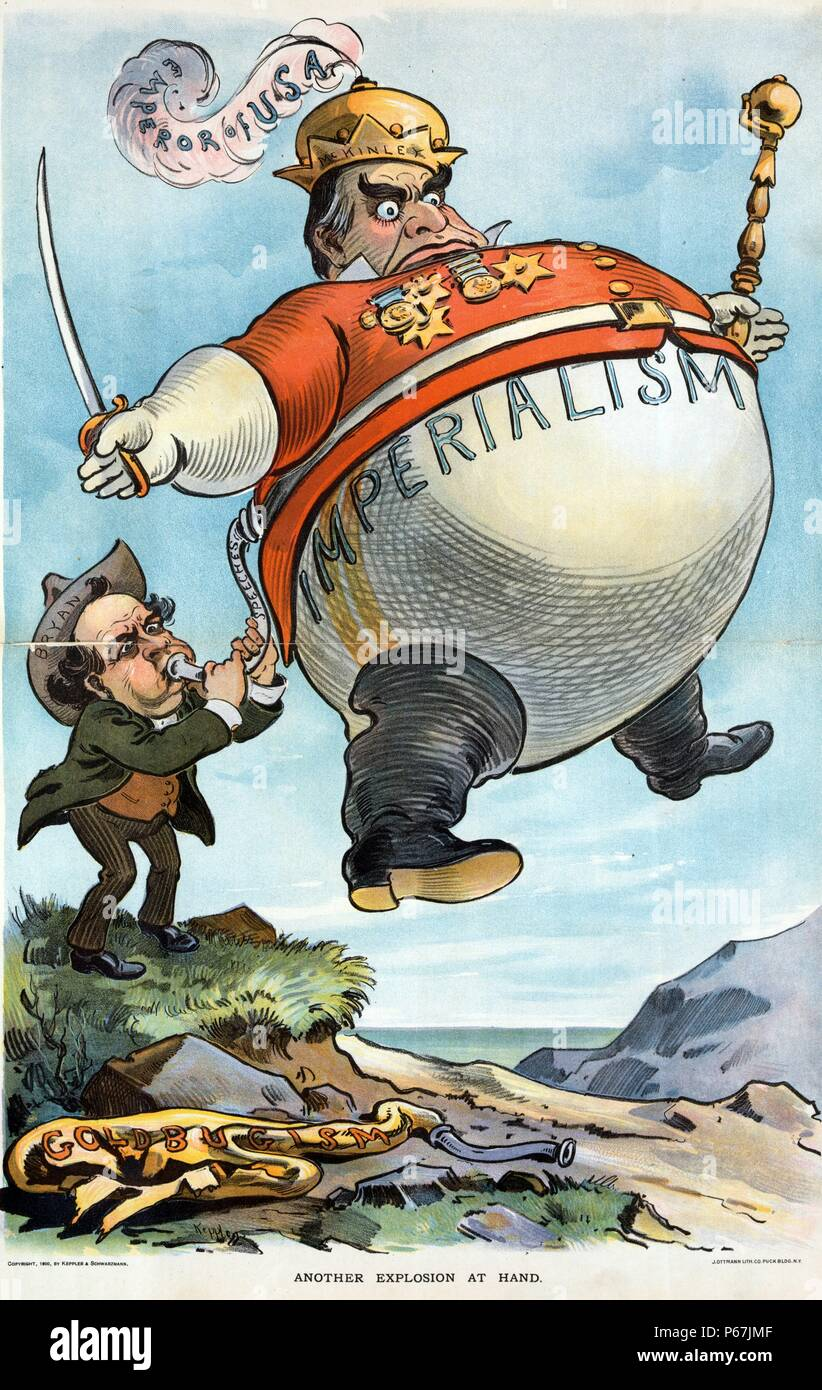 Another explosion at hand' William Jennings Bryan, using the hot-air from his 'speeches', to inflate a large balloon labelled 'Imperialism', of President McKinley dressed as the 'Emperor of USA', holding a sceptre in one hand and a sword in the other - Stock Image