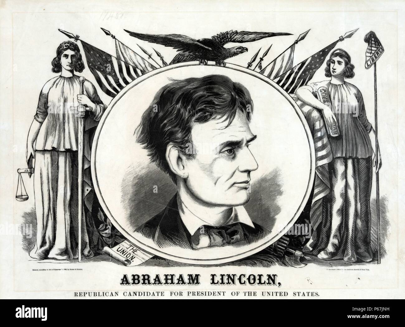 Abraham Lincoln, Republican candidate for president of the United States' Large campaign banner or poster for Republican presidential candidate Abraham Lincoln. It features a central roundel with a bust portrait of the candidate, flanked by standing deities Justice and Liberty. An eagle with wings spread perches atop the roundel, behind which are several American flags on pointed staffs. - Stock Image