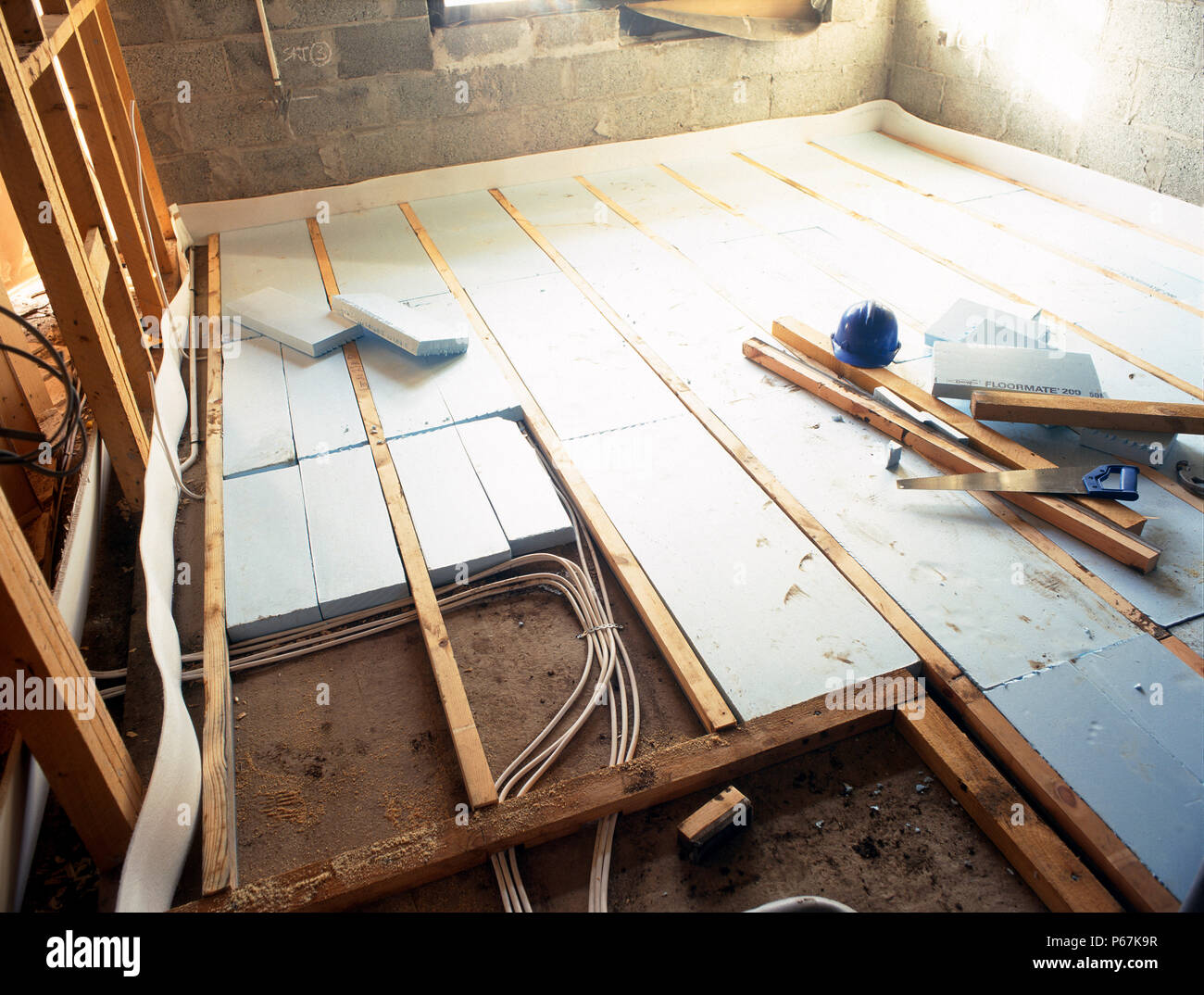 Floorboard Insulation With Polystyrene Sheets And Underfloor Heating - Under floorboard heating