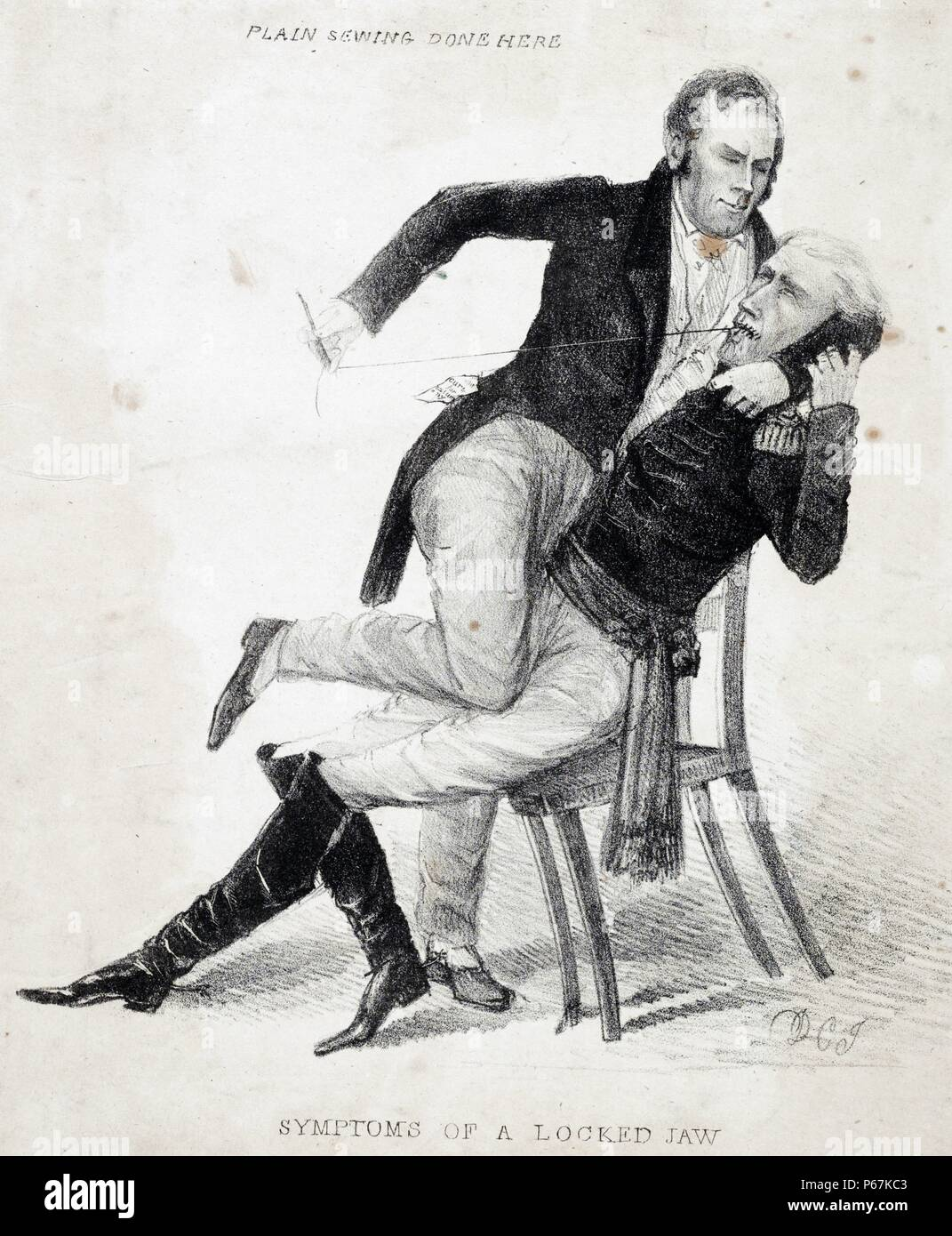 Symptoms of a locked jaw. Plain sewing done here' The caricature reflects the bitter antagonism between Kentucky senator Henry Clay and President Andrew Jackson, during the protracted battle over the future of the Bank of the United States from 1832 through 1836. The print may relate specifically to Clay's successful 1834 campaign to exclude from the Senate journal Jackson's statement of protest against Congressional censure of his earlier actions on the Bank. Clay is shown restraining a seated, uniformed Jackson and sewing up his mouth. - Stock Image