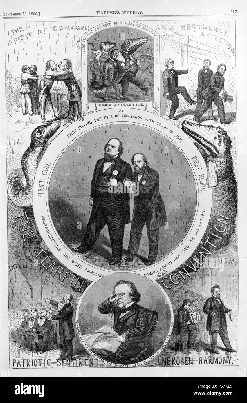 The tearful convention' Political cartoon mocking the National Union Convention of August 1866, showing Gen. Darius Couch of Massachusetts with Gov. James Orr of South Carolina; below, President Andrew Johnson cries as he reads about the convention. - Stock Image