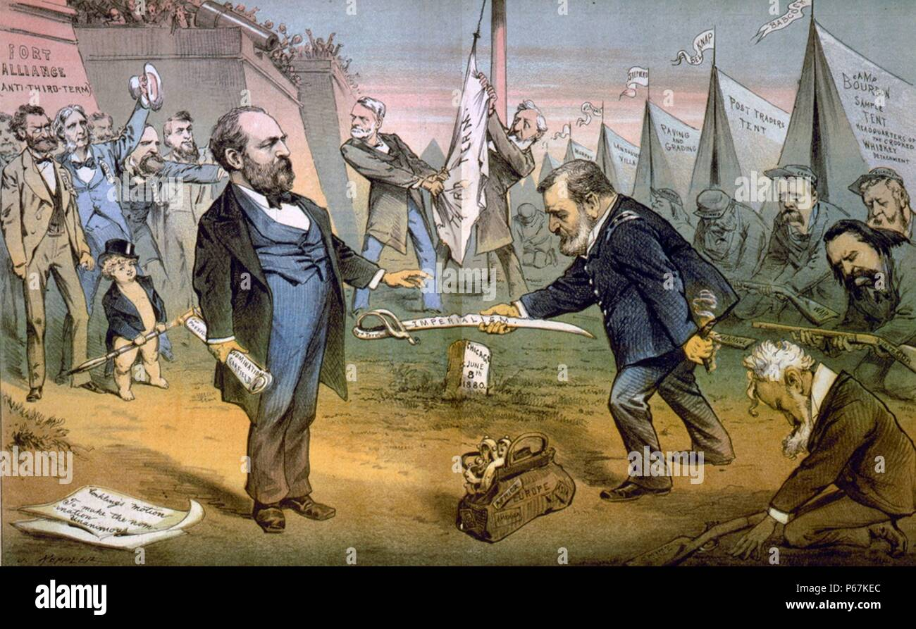 The Appomattox of the third termers - unconditional surrender' Cartoon showing Ulysses S. Grant, wearing Civil War uniform, in front of tents 'Camp Bourbon,' 'post trading tent,' etc., and Belknap, Cameron, Williams, and Murphy, as soldiers with unhappy faces, handing damaged sword 'IIId. term imperialism' to James Garfield, who is holding paper 'for nomination President Garfield,' in front of 'Fort Alliance (anti-third-term).' - Stock Image