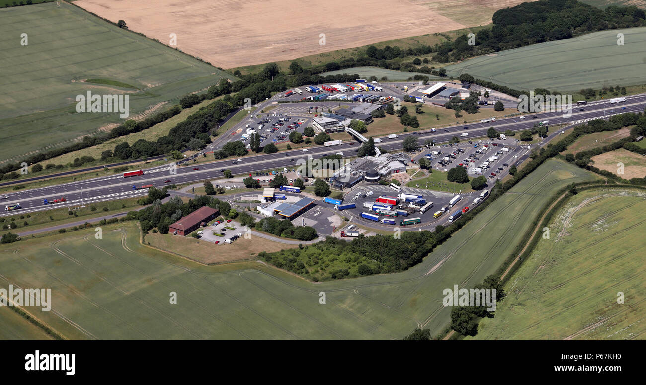 aerial view of Woodall Services on the M1 near Sheffield, UK - Stock Image