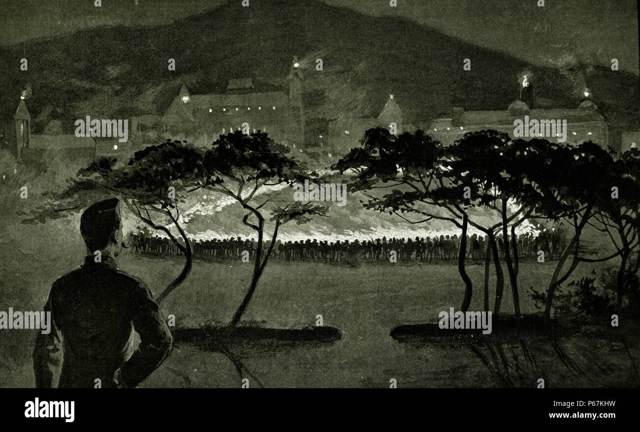 Engraving depicts the torchlight tattoo in Cape Town in honour of  Field Marshal Frederick Sleigh Roberts (1832 – 1914) upon his departure. Dated 1901 - Stock Image