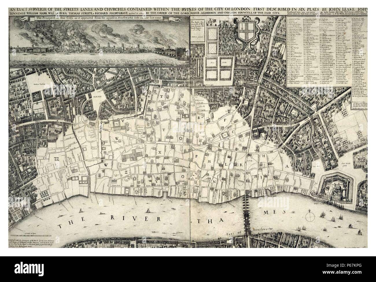 17th century map of London including the River Thames. At the top of the Map there is an illustration of the Great Fire of London. Dated 1677 Stock Photo