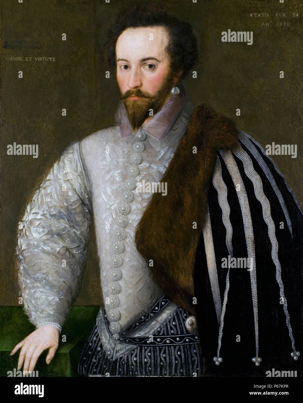 Portrait of Sir Walter Raleigh (1552-1618) English aristocrat, writer, poet, soldier, politician, courtier, spy, and explorer. Popularised tobacco in England. Dated 16th Century - Stock Image