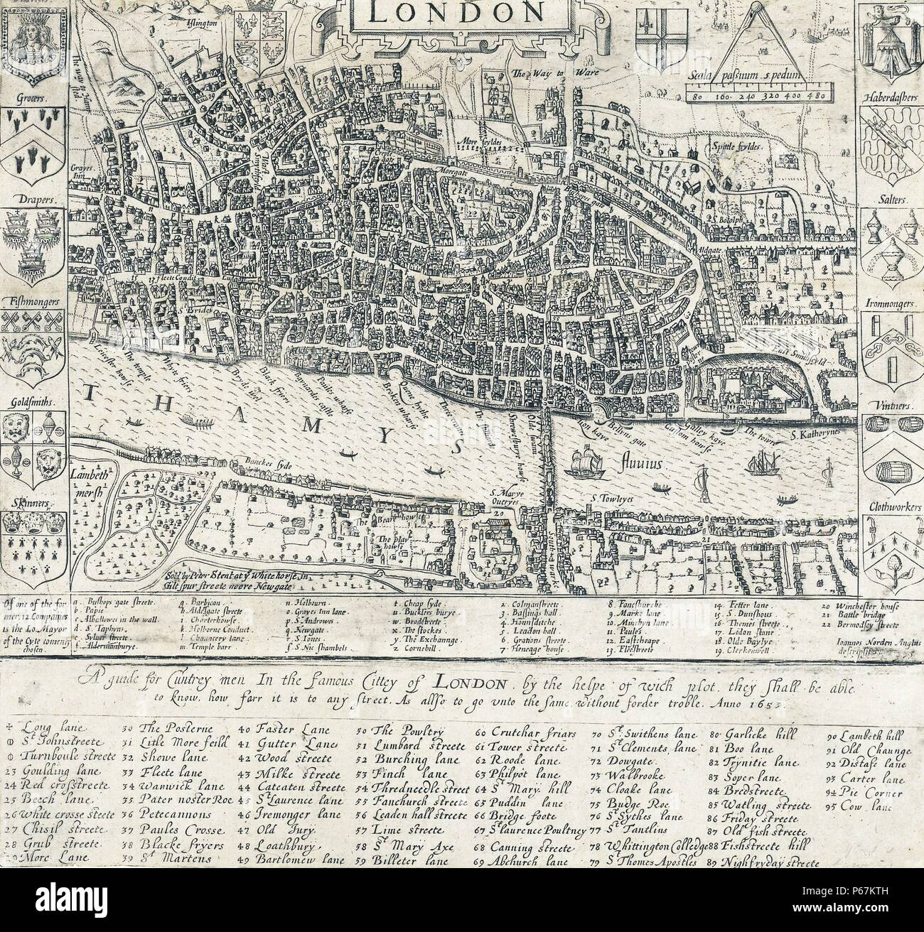 16th Century Map of London by John Norden (1548-1625) English cartographer,  chorographer and antiquary. Dated 1593