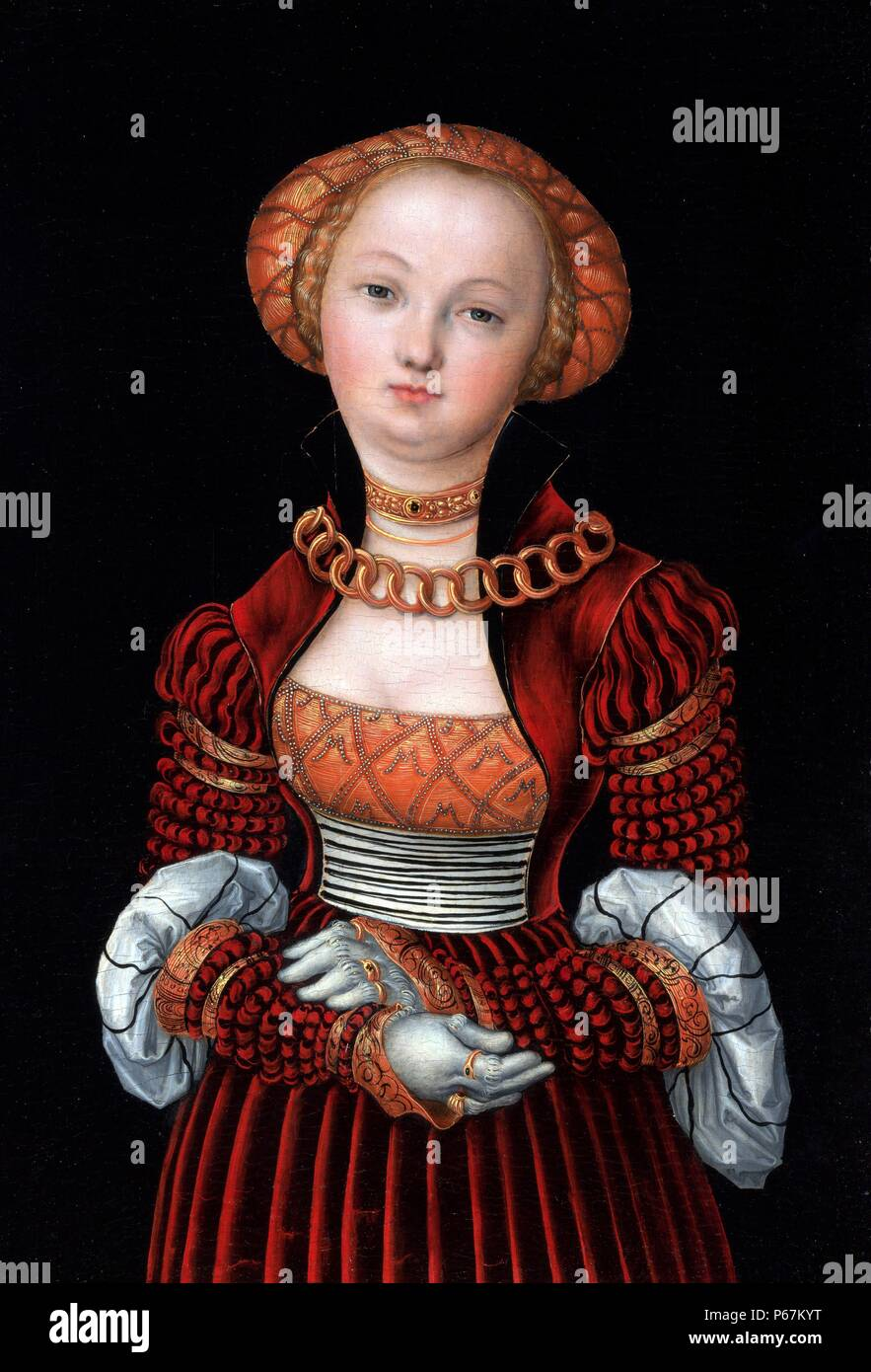 Effigy of a young woman. By Lucas Cranach the Elder (1472-1553)  German Renaissance painter and printmaker in woodcut and engraving. Dated 16th Century - Stock Image