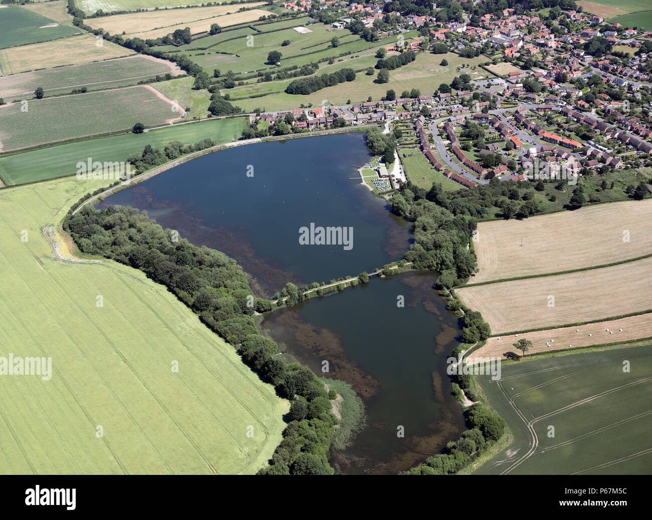 aerial view of Harthill Reservoir with Rotherham Sailing Club near Harthill, Sheffield - Stock Image