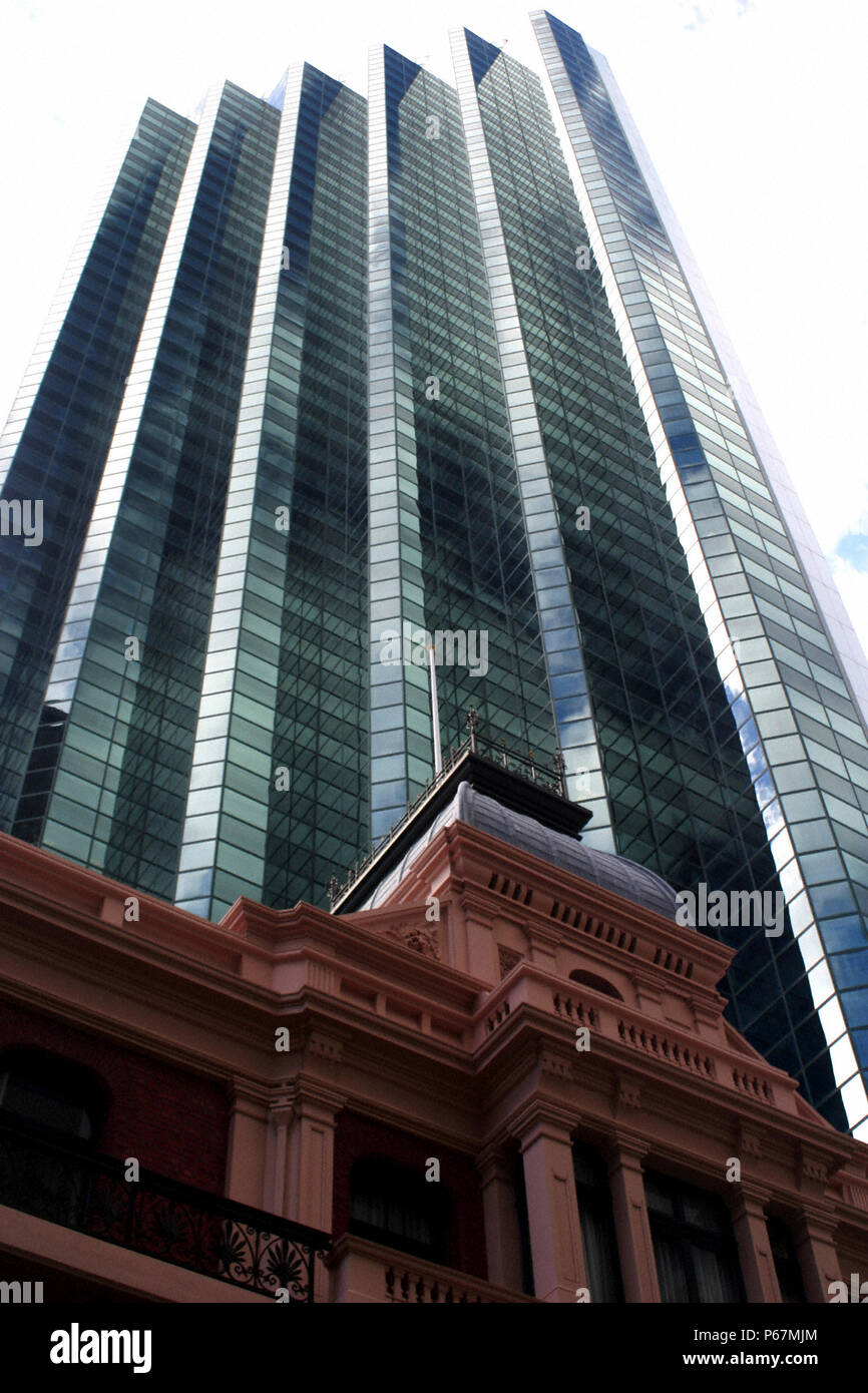 Office Skyscrapers along St Georges Terrace, Perth CBD, Western Australia - Stock Image