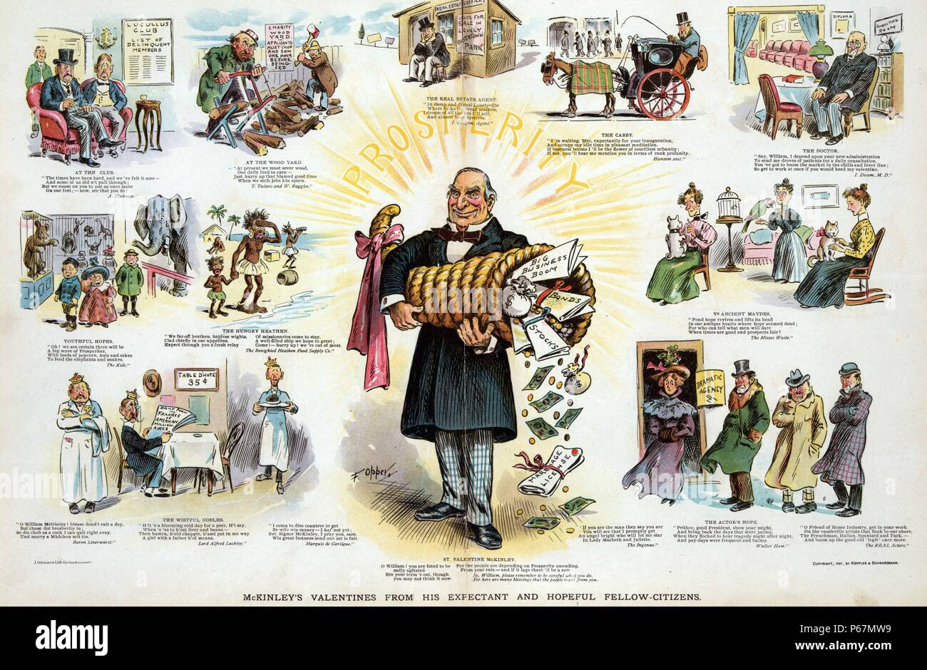 McKinley's valentines from his expectant and hopeful fellow-citizens' President McKinley standing at centre holding a large cornucopia and emitting rays labelled 'Prosperity', while around him are vignettes showing people from all walks of life, doctors, cabbies, club men, real estate agents, actors, nobility seeking rich American wives, tramps, children, and old maids, even 'The Hungry Heathen', all with valentine wishes for McKinley and the hope of prosperity for themselves. - Stock Image