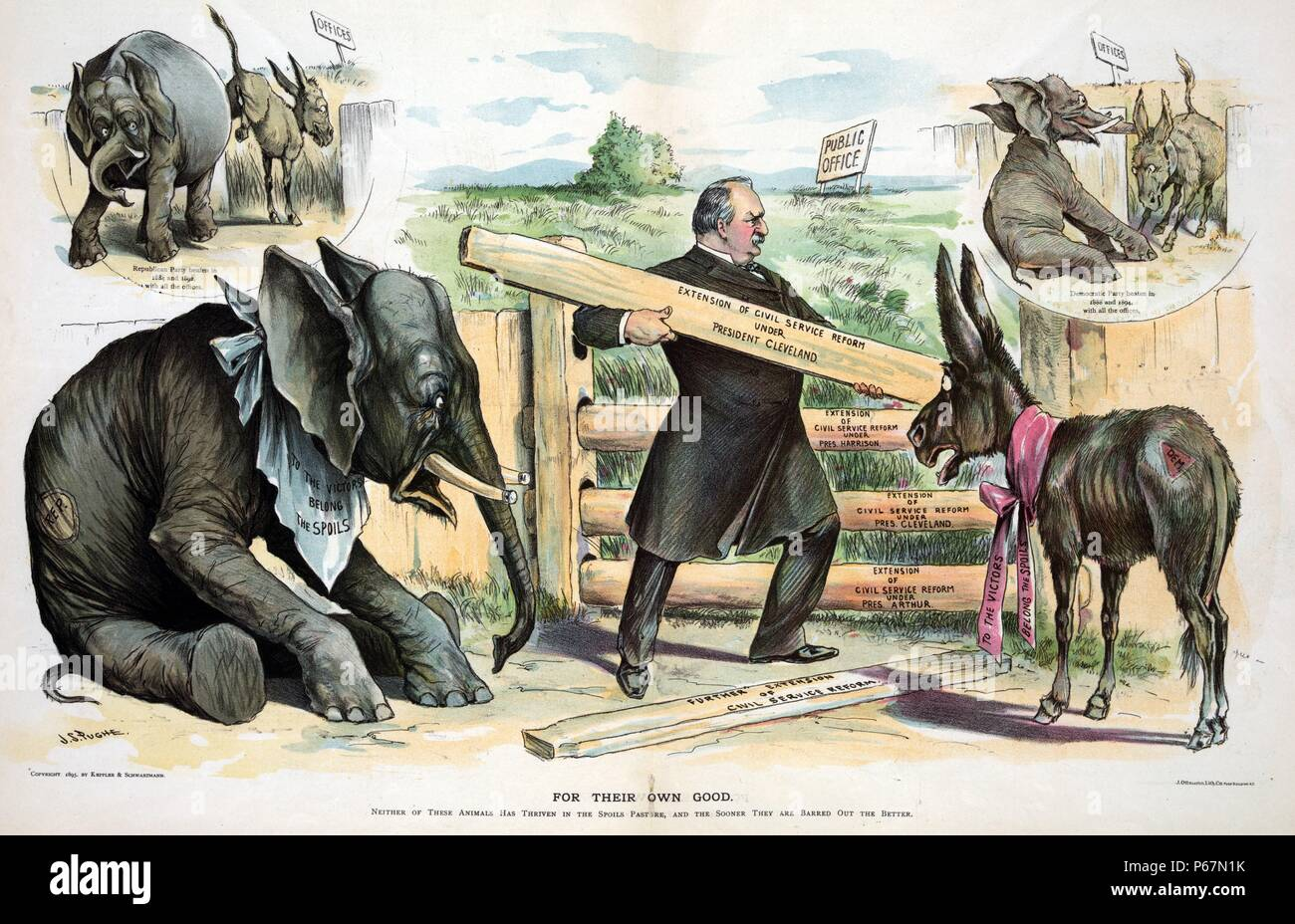 For their own good' President Cleveland adding boards labelled 'Extension of Civil Service Reform under President Cleveland' to a fence with boards labelled 'Extension of Civil Service Reform under Pres. Harrison', 'Extension of Civil Service Reform under Pres. Cleveland', and 'Extension of Civil Service Reform under Pres. Arthur', that encloses a pasture labelled 'Public Office'; watching him are the Republican Elephant and the Democratic Donkey, each wearing ribbons that state 'To the Victors Belong the Spoils'. - Stock Image