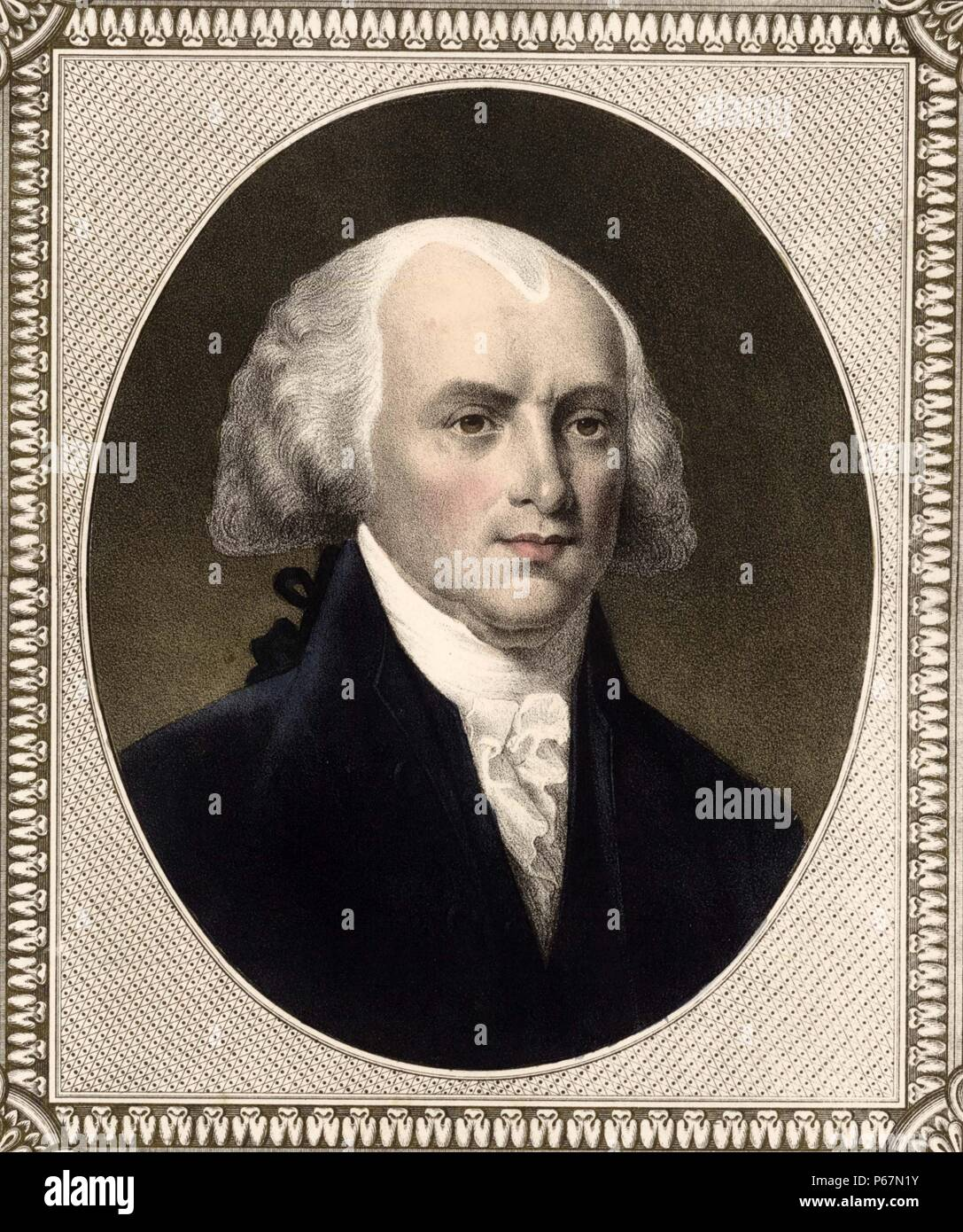 James Madison (1751-1836) was an American statesman and political theorist who served as the fourth President of the United States. He is thought of as the 'Father of the Constitution' thanks to his role in drafting the United States Constitution and writing of the United States Bill of Rights. - Stock Image