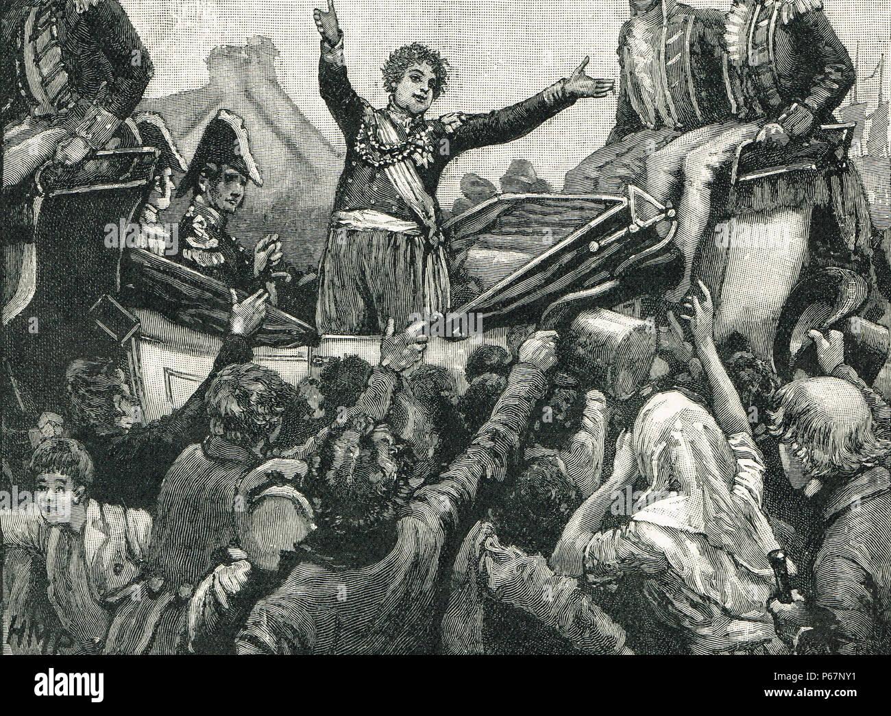 landing of King George IV, Howth harbour, Dublin, Ireland, 1821 - Stock Image