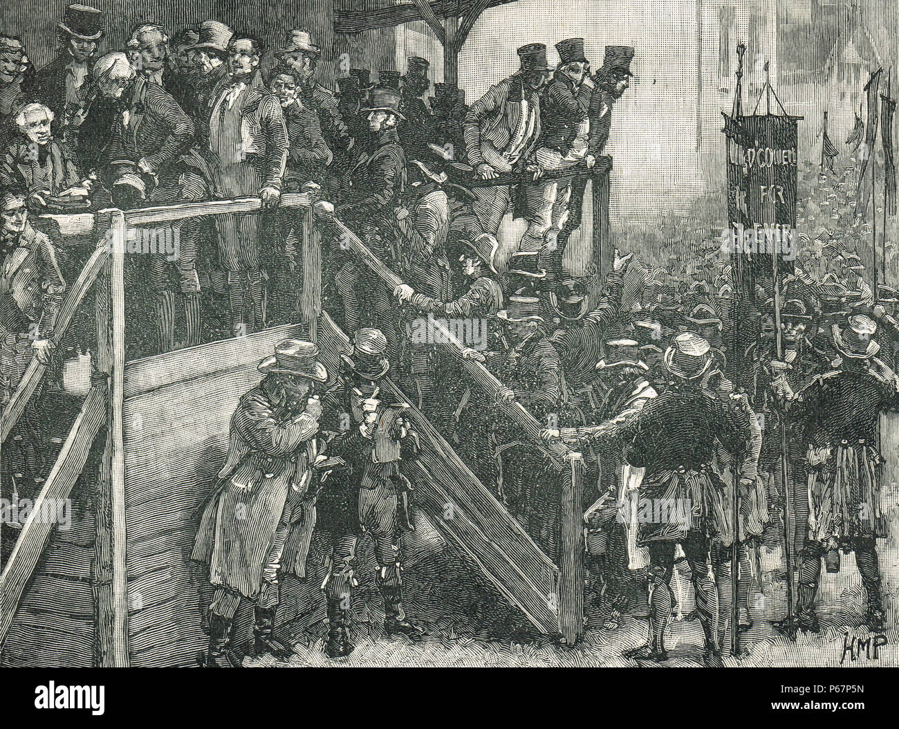 The Clare by-election of 1828, Father John Murphy of Corofin leading his tenants to the poll, Ennis, Ireland, voting for Daniel O'Connell 'to a man' - Stock Image