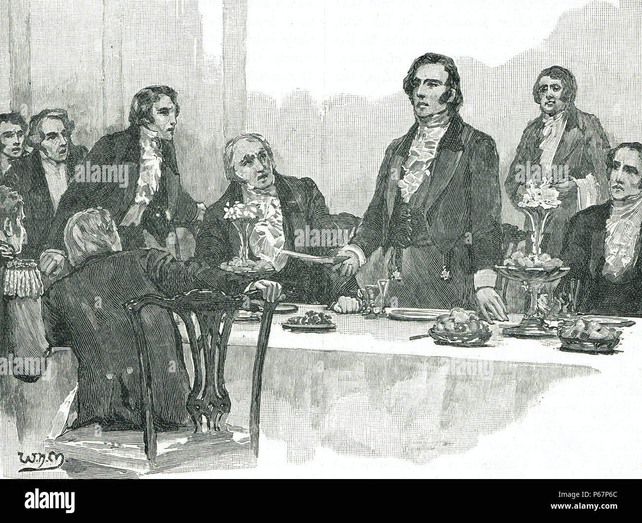 George Robert Dawson's, controversial 'surrender' speech at a banquet in Derry Londonderry, 12 Aug 1828 - Stock Image