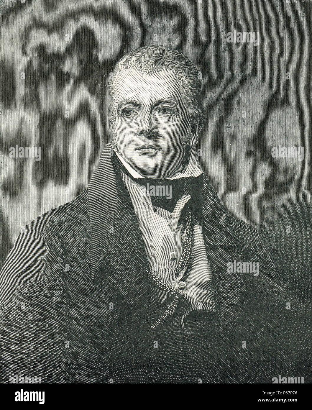 Sir Walter Scott, 19th century, novelist, author of Historical Romance novels - Stock Image