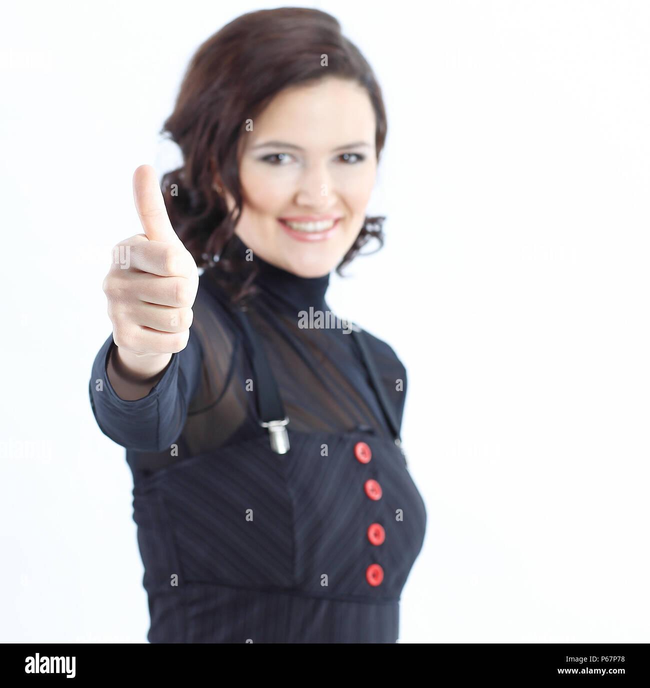 closeup.modern business woman showing thumb up - Stock Image