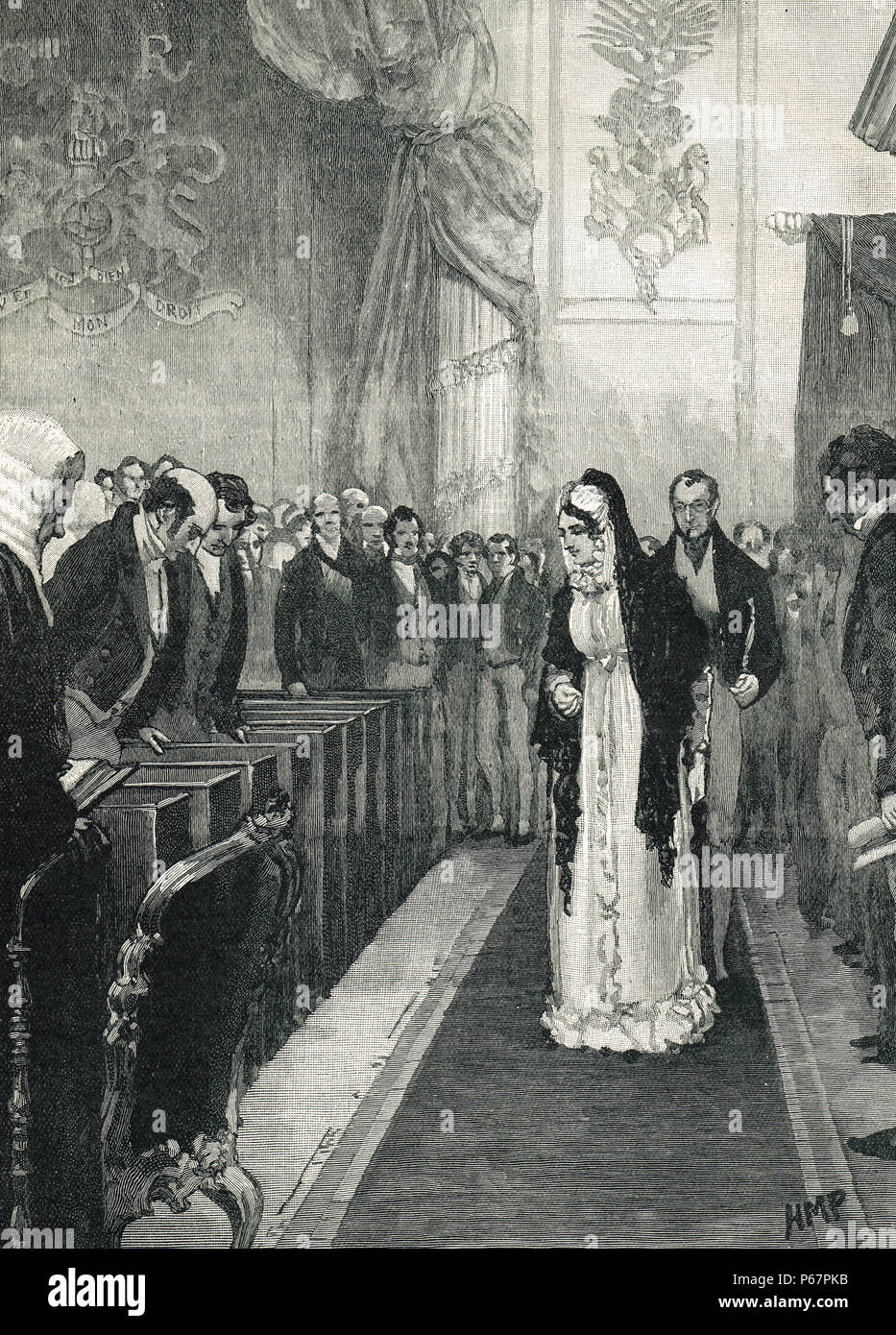 Queen Caroline, entering the House of Lords. The trial of Caroline of Brunswick, Queen consort to King George IV, The Pains and Penalties Bill 1820 - Stock Image
