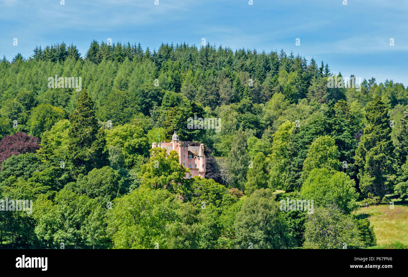CRAIGIEVAR CASTLE ABERDEENSHIRE SCOTLAND PINK TOWER SURROUNDED BY TREES IN SUMMER - Stock Image