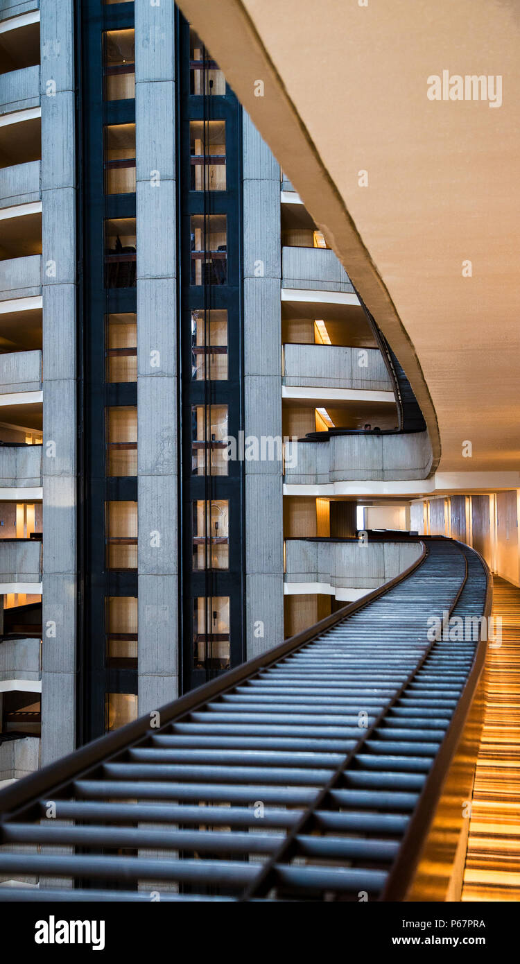 architecture is art inside the Marriott in Atlanta, Georgia - Stock Image